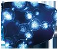 Un verre sur lequel on aperçoit une structure moléculaire pour illustre la techonologie Eye protect system ™ d'Essilor ® une solution pour lutter contra la lumière bleu-violet nocive intégrée dans le matériau.